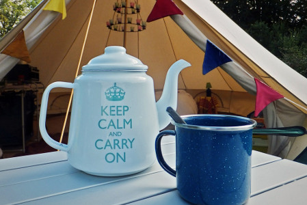 Keep Calm and Carry on Tent Kettle and mug